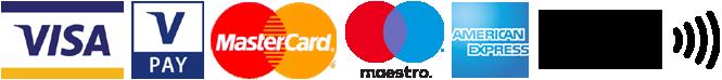 Wir akzeptieren Kartenzahlung via Visa, V-Pay, Mastercard, Maestro, American Express und Apple-Pay