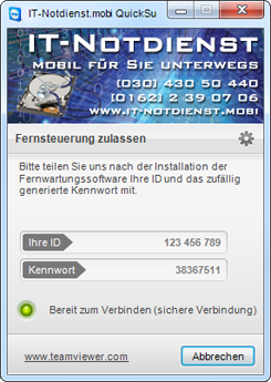 QuickSupport via Fernwartung durch IT-Notdienst.mobi